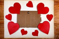 Quadro de mensagens com formas do coração Foto de Stock Royalty Free