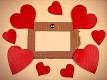 Quadro de mensagens com formas do coração Fotografia de Stock Royalty Free