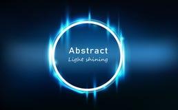 Quadro de néon de incandescência abstrato claro azul do círculo do efeito, ilustração de brilho brilhante do vetor do fundo da te ilustração royalty free