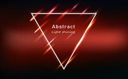 Quadro de néon vermelho de incandescência abstrato do triângulo do efeito do movimento claro, vetor de brilho brilhante do fundo  ilustração royalty free