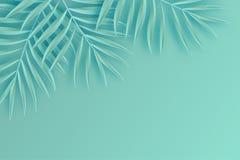 Quadro de papel tropical das folhas de palmeira Folha tropical do verão origami ilustração royalty free