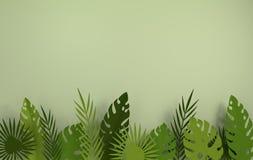 Quadro de papel tropical das folhas de palmeira Folha verde tropical do verão Folha havaiana exótica da selva do origâmi, fundo d ilustração stock