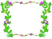 Quadro de plantas verdes e de flores coloridas Imagens de Stock Royalty Free