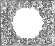 Quadro de prata decorativo velho - feito a mão, gravado - isolado em w Imagem de Stock Royalty Free