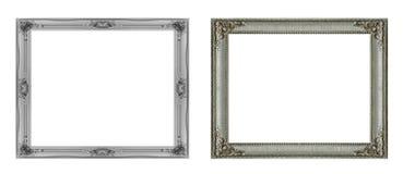 Quadro de prata isolado no fundo branco Objeto isolado imagens de stock