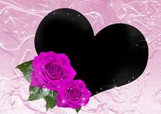 Quadro de Rosa e de coração Fotografia de Stock