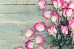 Quadro de rosas cor-de-rosa no fundo de madeira rústico de turquesa com c Imagem de Stock Royalty Free