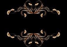Quadro de testes padrões florais do ouro Fotografia de Stock Royalty Free