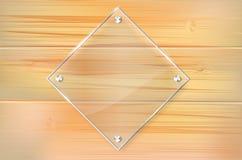 Quadro de vidro transparente no fundo de madeira ilustração royalty free