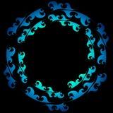 Quadro decorativo da onda do mar do ornamento do círculo do vetor Imagem de Stock Royalty Free