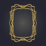 Quadro decorativo do vetor do retângulo do brilho do ouro de Art Nouveau para o projeto Art Deco Style Border Fotos de Stock