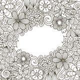 Quadro decorativo do zentangle floral Fotos de Stock Royalty Free