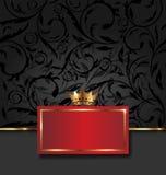 Quadro decorativo ornamentado com coroa dourada Fotos de Stock Royalty Free