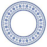 Quadro decorativo redondo escandinavo, projeto da arte popular do vetor, composição floral nos azuis marinhos Foto de Stock