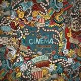 Quadro desenhado à mão da garatuja do cinema do vetor dos desenhos animados Foto de Stock