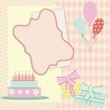 Quadro do aniversário com bolo, balões e presente Fotografia de Stock Royalty Free