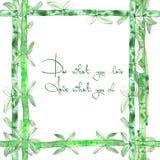 Quadro do bambu do verde da aquarela Fotos de Stock Royalty Free
