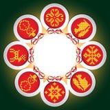 Quadro do bordado com as esferas do ano novo Ilustração do Vetor
