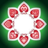 Quadro do bordado com corações do ano novo Ilustração Stock