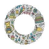 Quadro do círculo com animais de partido ilustração stock