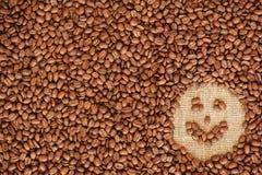 Quadro do café da face feito de feijões de café Imagem de Stock