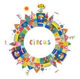 Quadro do circo para o cartão ou a bandeira, projeto engraçado, Foto de Stock
