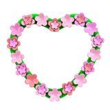 Quadro do coração com flores cor-de-rosa, 3d Fotografia de Stock