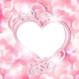 Quadro do coração da pérola Fotos de Stock