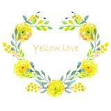 Quadro do coração de flores do amarelo da aquarela Foto de Stock Royalty Free