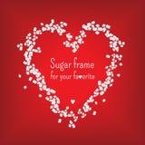 Quadro do coração do Valentim com açúcar doce Vetor Imagens de Stock