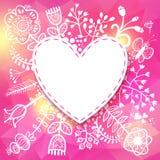 Quadro do coração da flor. Vector a ilustração, pode ser usado como criando Imagens de Stock Royalty Free