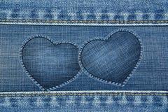 Quadro do coração feito pela textura das calças de brim Imagem de Stock