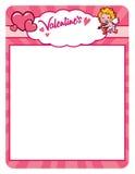 Quadro do cupido do Valentim com corações Imagens de Stock Royalty Free