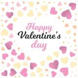 Quadro do dia de são valentim com fundo pequeno dos corações da cor Fotografia de Stock Royalty Free