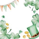 Quadro do dia do ` s de St Patrick da aquarela Ornamento do trevo Para o projeto, a cópia ou o fundo Fotografia de Stock