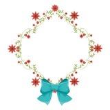 Quadro do diamante com trepadeiras e a fita vermelha do flor e a azul Imagens de Stock Royalty Free