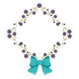 Quadro do diamante com trepadeiras e a fita violeta do flor e a azul Fotos de Stock