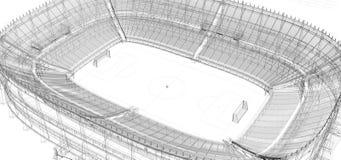 Quadro do fio do estádio do futebol ou de futebol Fotos de Stock