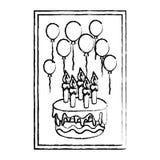Quadro do Grunge com aniversário das velas e dos balões do bolo ilustração royalty free