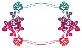 Quadro do inclinação com rosas Clipart da quadriculação Imagens de Stock