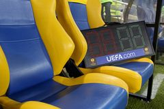 Quadro do indicador no estádio de futebol de Metalist Kharkiv Fotografia de Stock Royalty Free