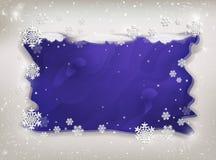 Quadro do inverno com flocos de neve e neve para o texto no roxo ilustração stock