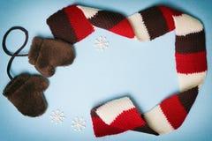 Quadro do inverno com mitenes, lenço e os flocos de neve pequenos Fotografia de Stock Royalty Free