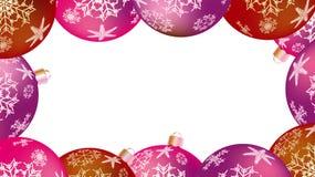 Quadro do inverno do Natal pelo ano novo de bolas redondas coloridos, árvore de Natal Fundo do vetor ilustração royalty free