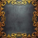 Quadro do metal do ouro no metal preto Imagem de Stock Royalty Free