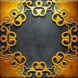 Quadro do metal do ouro no metal preto Imagens de Stock Royalty Free