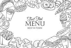 Quadro do molde do fast food ilustração stock