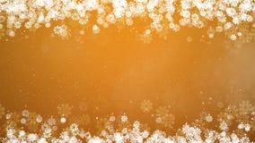 Quadro do Natal no fundo amarelo Cartão abstrato do inverno com flocos de neve ilustração royalty free