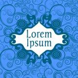 Quadro do ornamental do vetor Cartão azul Foto de Stock Royalty Free