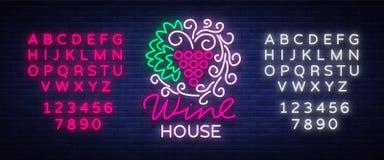 Quadro do ornamento do teste padrão da casa do vinho com dentro um estilo de néon na moda Logotipo, bandeira de incandescência do Fotografia de Stock